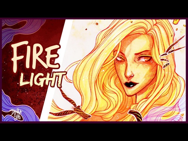 Firelight • Finetec Gold Paint and Watercolor •