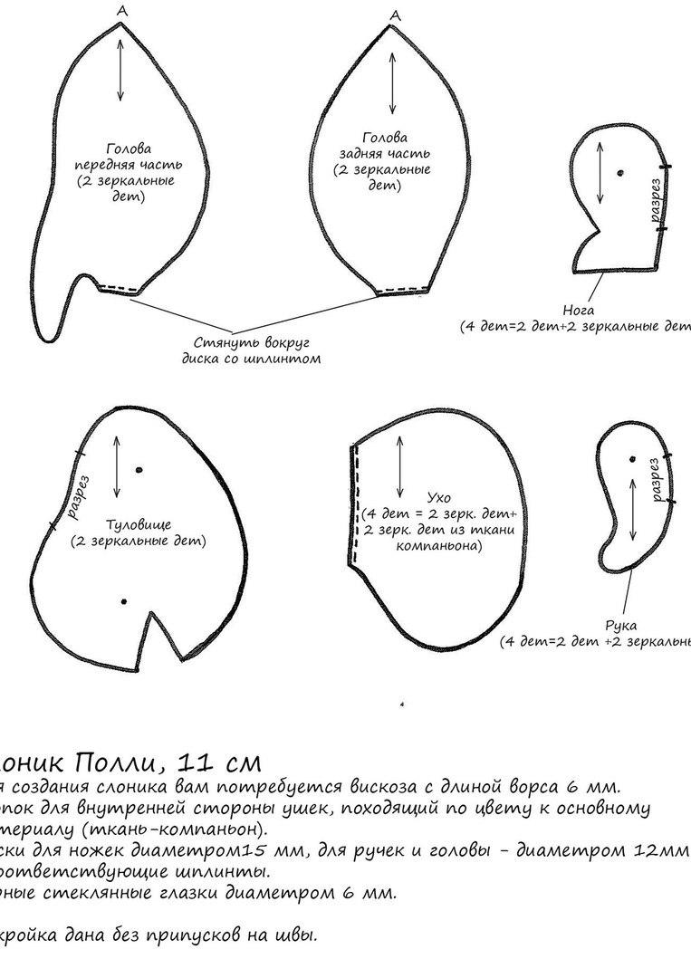 Слоник выкройка в натуральную величину