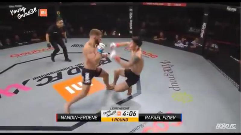 Rafael Fiziev TKOs Nandin-Erdene in about 1 minut