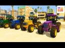 Мультик про Трактор и Цветные Длинные Машинки Учим Цвета для Детей и Малышей с В ...