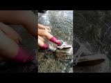 Wetlook - Anna has fun in river with converse and pink socks!
