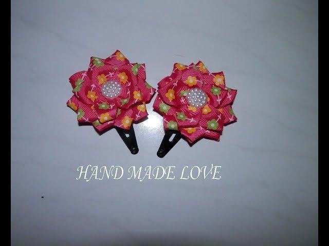 Заколка с цветком из репсовой ленты hair pins kanzashi