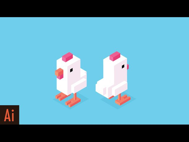 Create Isometric Character: Part 1 (Crossy Road Chicken) | Illustrator Tutorial