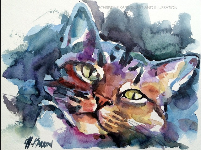 Loose Watercolor sketch demo Cat portrait painting by Ch.Karron