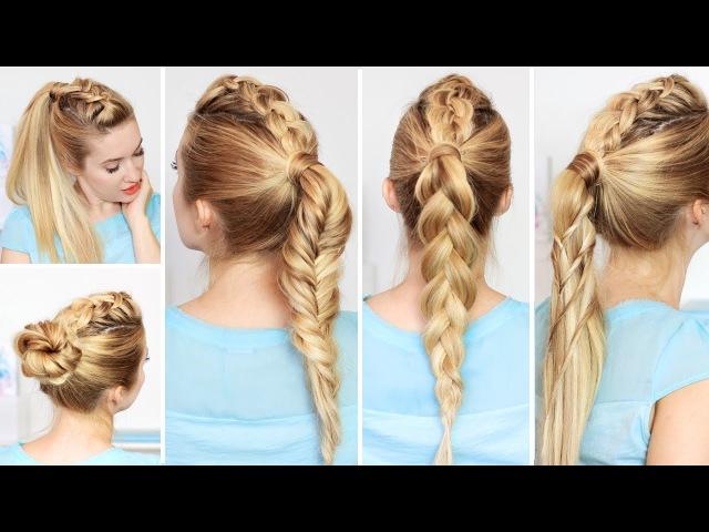 Причёски с высоким хвостом на каждый день, быстро и легко, в школу, для средних/дл...