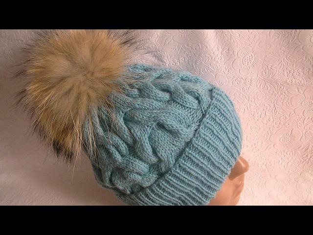 Вязание шапки c косами.Knitting hats c braids.