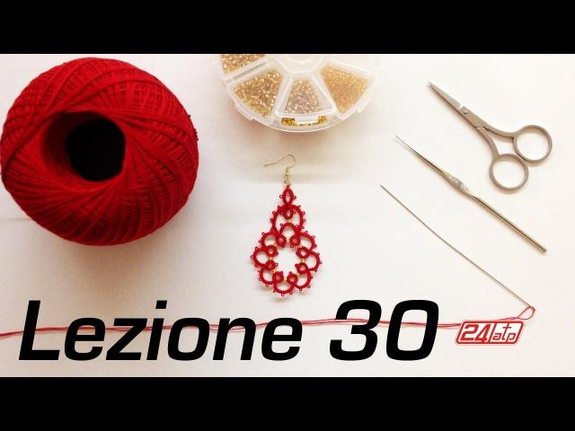 Chiacchierino Ad Ago - 30˚ Lezione Orecchino Con Perline Bijoux Tutorial Needle Tatting Stitch Count