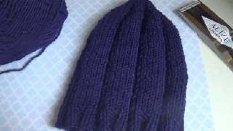 мужская шапка спицами GOOD пряжа alize lanagold