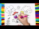How to Draw Boy and Girl going to school, Coloring Pages for Kids