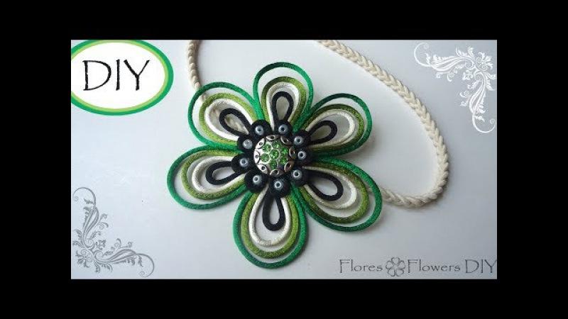 🌸DIY Flor de cola de ratón. Satin rat tail cord flower you can DIY.