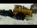 Кировец К 700 701 А чистит дорогу от снега
