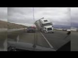 Raw- Big Rig Blows Over, Crushes Patrol Car