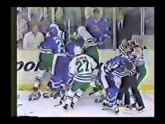 Basil McRae vs. Paul MacDermid Quebec-Hartford Brawl NHL 1987