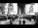 German Tank Panzer Division parades on streets of Paris in France HD Stock Footage