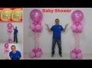 Decoración para baby shower niña - ideas para baby shower - columnas de globos - baby shower