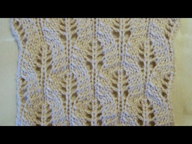 Ажурный узор Колоски Вязание спицами Видеоуроки