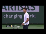 Novak djokovic sits down while the music is playing on the Court in Indian Wells 2017