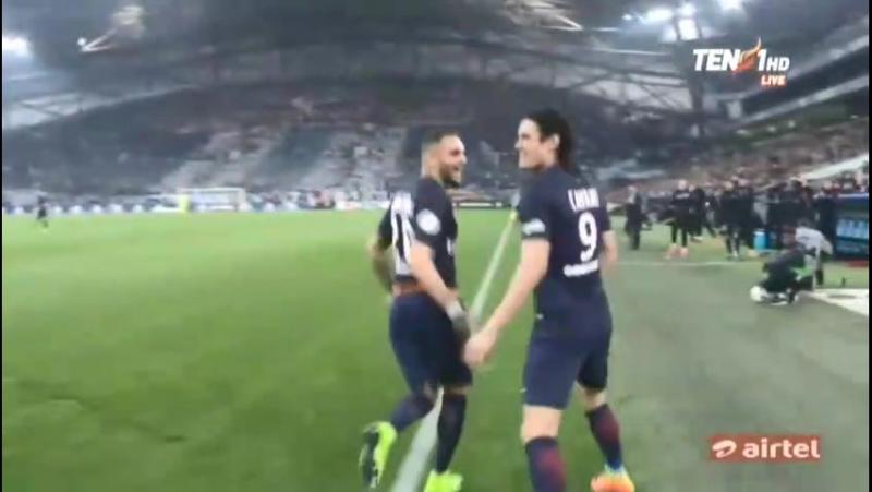 Olympique Marseille 0-2 PSG Edinson Cavani Goal 26.02.2017