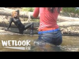 WETLOOK 10: Two girls in a river fully clothed Jeans and Spandex