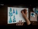 ДПТ. Урок 7. Две картины с зимним пейзажем на бумаге А -4 для рождественского подарка.