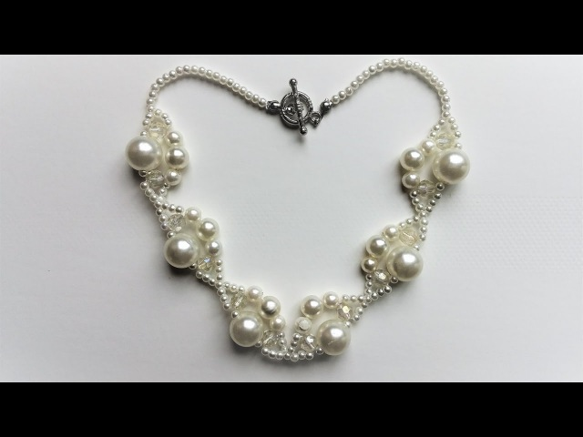 Easy Beaded necklace tutorial. Beginners jewelry making