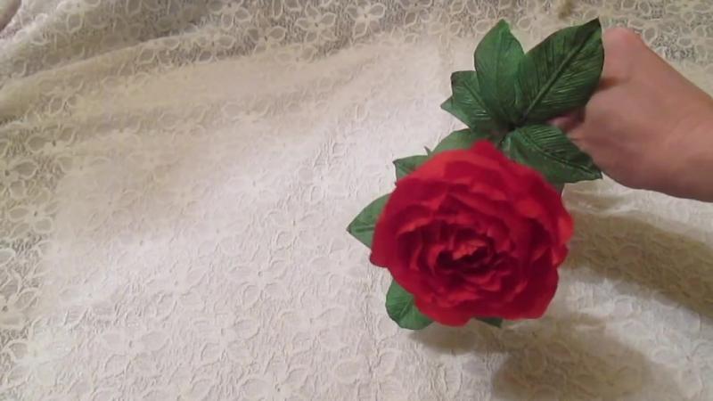 Роза на стебле своими руками _ Цветы из ткани _ 2 часть _ Мастер класс _ Елена Шевченко