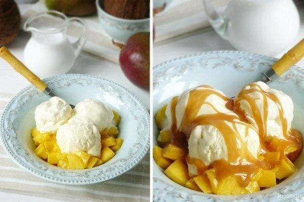 Десерт с манго и кокосовой карамелью
