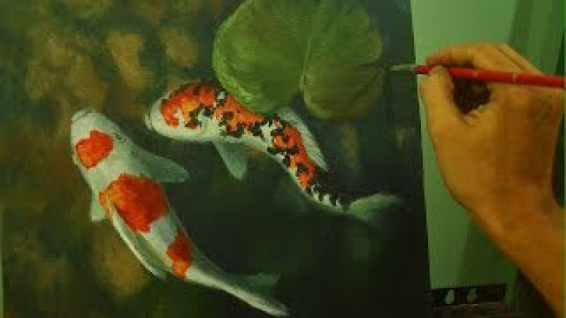 Acrylic Painting Lesson | Koi Fishes by JM Lisondra