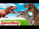 Мультфильм для детей Динозавры делят территорию Тираннозавр против. Мультики про динозавров