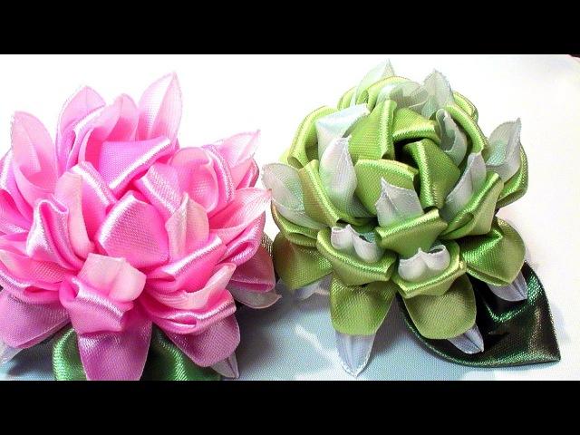 How to Make Kanzashi Flowers, DIY Ribbon Flowers Tutorial, Tatiana Vasyliuk / Цветок Канзаши, МК