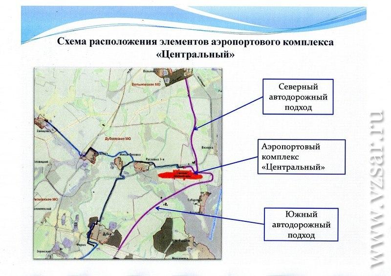 Схема автодороги в аэропорт южный