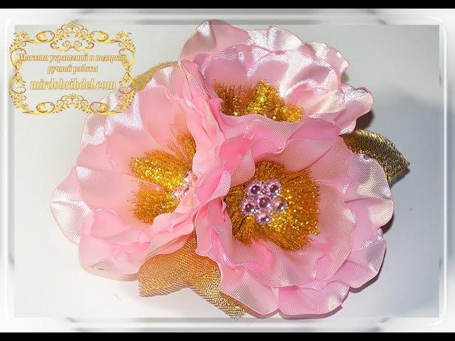 МАЛЬВЫ канзаши МК   Цветы из лент