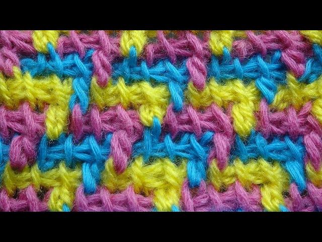 Трехцветный узор тунисское вязание крючком Tunisisan crochet pattern 42