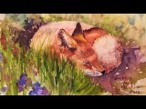 Let's Paint a Baby Fox Kit in Watercolor Real Time Tutorial