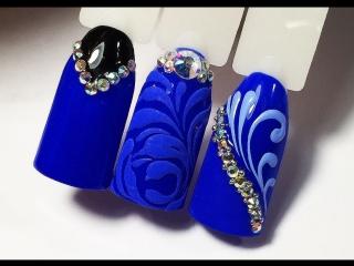 Топ 3 дизайна синим гель-лаком