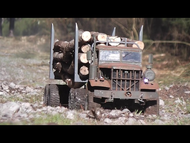 FATBETTY in Gettin' Wood. Home made steel RC logging truck.