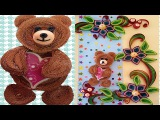 Paper Quilling  How to make Amazing Quilled christmas Greeting  Card with teddy bear
