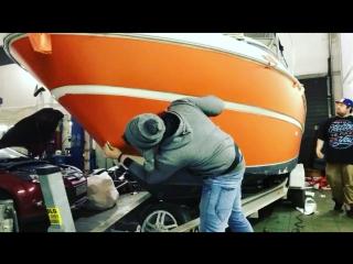 Оклейка катера. Процесс