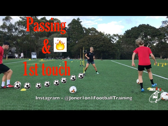 Loads of different soccer drills that work on 1st touch passing