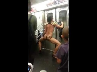 Crazy Guy Dancing on a Train Naked WTF