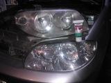 Fiat Punto 2 Headlights restoration - sonax scratch remover polish