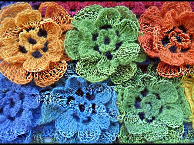Цветочный палантин из Кауни -floral stole crocheted (Шаль 21)