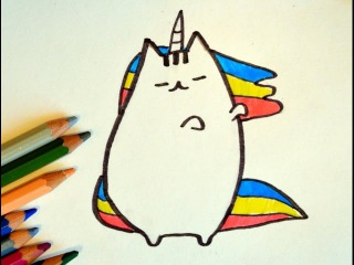 Как нарисовать кота Пушин Pusheen единорог. How to draw a cat Pusheen