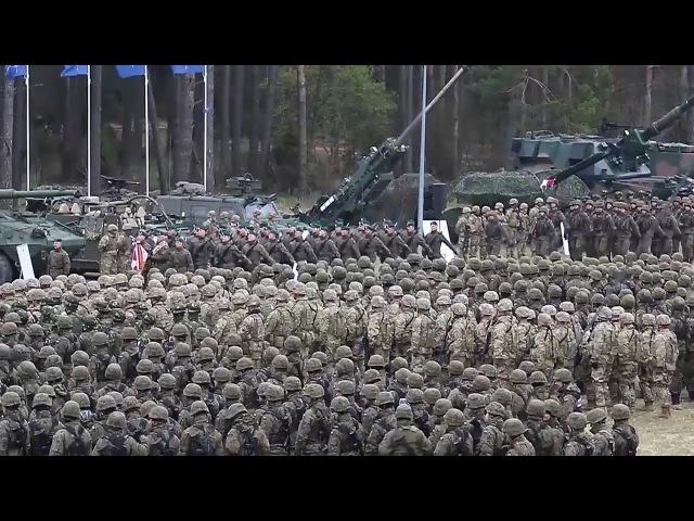 Battle Group Poland is hailed in Orzysz, Poland