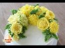 Torte mit Dahlia und englische Rose aus Glossy Buttercreme