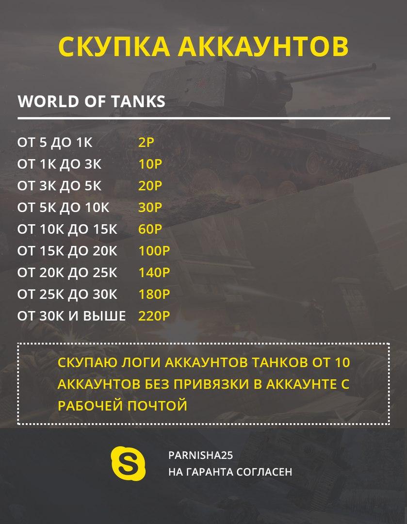 Скупаю аккаунты World Of Tanks