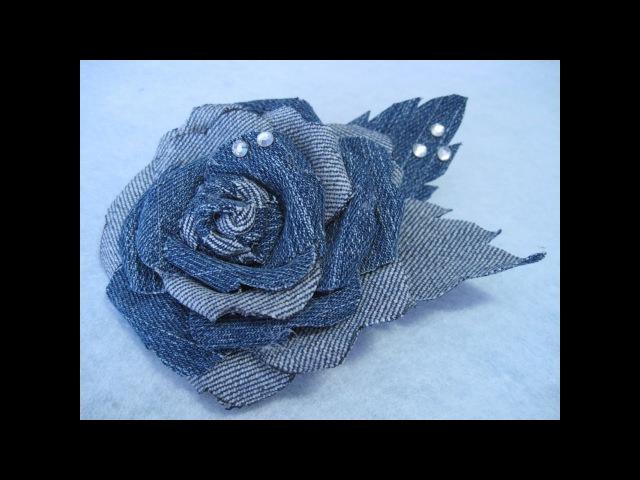 DIY -Flor de mezclilla en tela de jean reciclada con cristalitos de strass