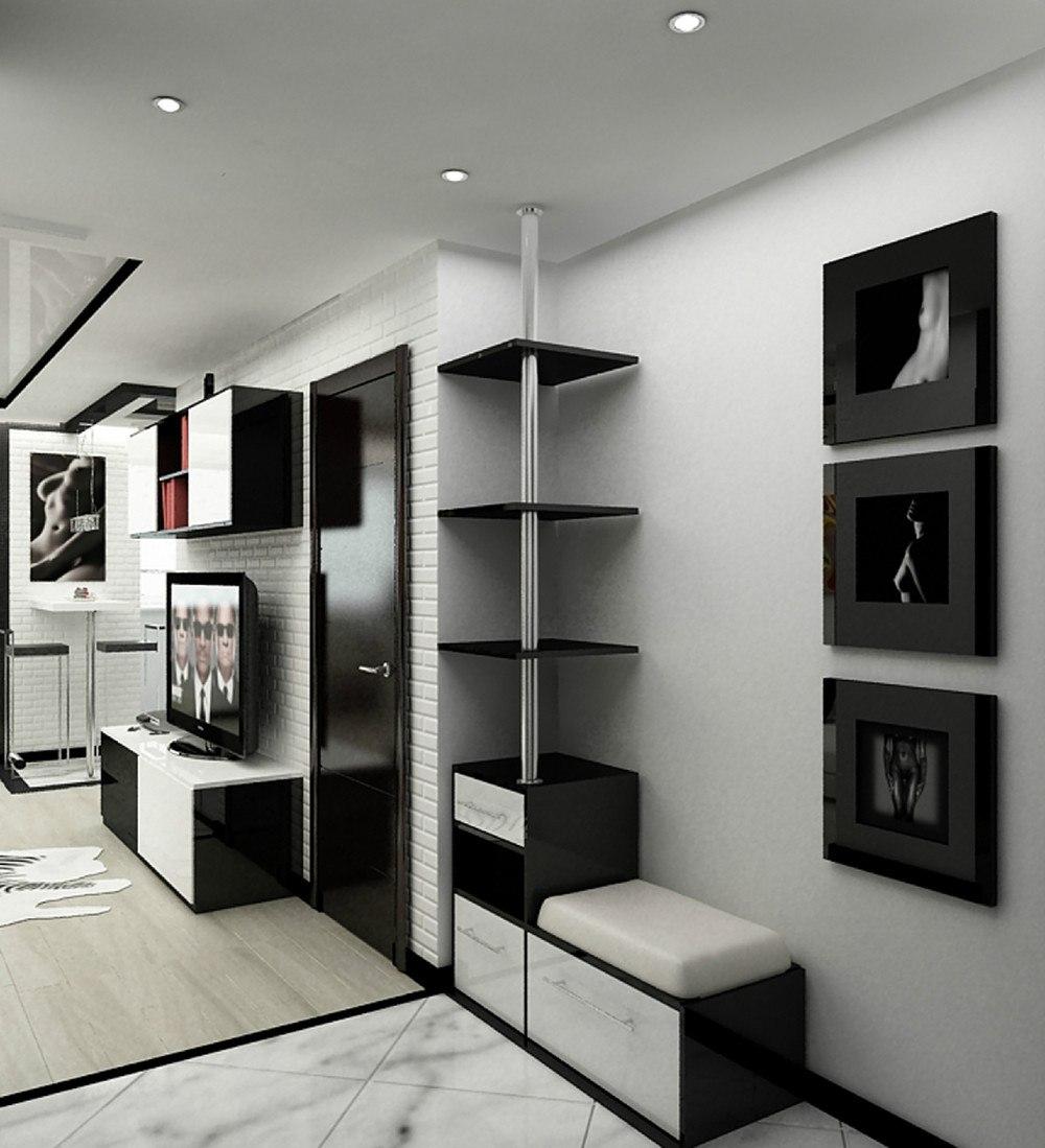 Проект квартиры 37,5 м с присоединенной лоджией в черно-белой гамме для холостяка.