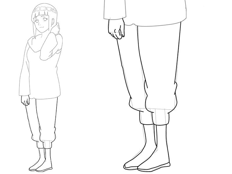 Как нарисовать поэтапно карандашом хинату