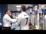 Cristianos Bayern hat-trick celebrations in the dressing room!